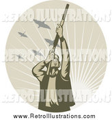 Retro Illustration of a Male Duck Hunter in a Tan Oval of Sunshine by Patrimonio