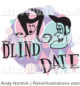 Retro Illustration of a Man and Woman Grinning at Each Other While on a Blind Date by Andy Nortnik