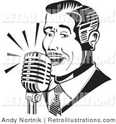 Retro Illustration of a Man Singing or Announcing into a Microphone in Black and White by Andy Nortnik