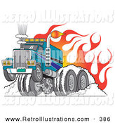 June 3rd, 2013: Retro Illustration of a Manly and Tough Big Rig Hot Rod Truck Flaming and Smoking Its Rear Tires Doing a Burnout in Flames and a Wheelie by Andy Nortnik