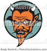 June 28th, 2012: Retro Illustration of a Mean Old Red Male Devil with Fangs and Horns by Andy Nortnik