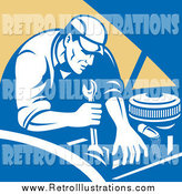 Retro Illustration of a Mechanic Working on an Engine by Patrimonio