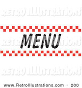 Retro Illustration of a Menu Sign with Red Checker Borders on White by Andy Nortnik