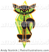 Retro Illustration of a Mysterious Skinny Black Cat Sitting in Front of a Green Diamond with the Moon and Stars by Andy Nortnik