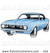 Retro Illustration of a New Light Blue 1968 Chevrolet SS Camaro Muscle Car with a Chrome Bumper by Andy Nortnik