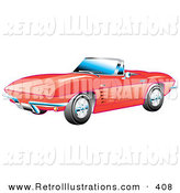 Retro Illustration of a New Red 1963 Convertible Chevrolet Corvette with the Top down and Crome Bumpers by Andy Nortnik