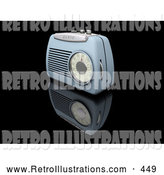 Retro Illustration of a Old Fashioned Retro Blue Radio with a Station Dial, on a Reflective Black Surface by KJ Pargeter