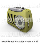 Retro Illustration of a Old Fashioned Retro Greenish Yellow Radio with a Station Dial, on a White Surface by KJ Pargeter