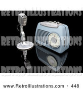 Retro Illustration of a Old Fashioned Retro Microphone and Blue Radio on a Reflective Black Surface by KJ Pargeter