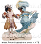 Retro Illustration of a Old Fashioned Romantic Black Couple in Beautiful Clothing, Ballroom Dancing, Circa 1890 by OldPixels