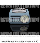Retro Illustration of a Old Fashioned Vintage Blue Radio with a Station Tuner, on a Reflective Black Surface by KJ Pargeter