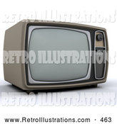 Retro Illustration of a Old Fashioned Vintage Box Television by KJ Pargeter