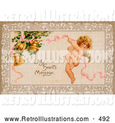 "Retro Illustration of a Old Fashioned Vintage Valentine of Cupid Flying and Tugging on a Pink Ribbon Connected to Golden Ringing Bells with Text Reading ""My Heart by OldPixels"