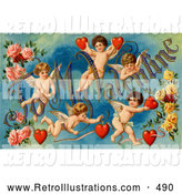 "Retro Illustration of a Old Fashioned Vintage Valentine of Five Playful Cupids with Roses, Decorated ""To My Valentine"" Text with Red Hearts, Circa 1911 by OldPixels"