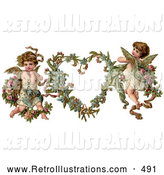Retro Illustration of a Old Fashioned Vintage Valentine of Two Adorable Cupids with Roses Beside a Gilded Forget Me Not Valentine Heart Wreath by OldPixels