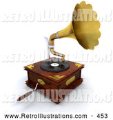 Retro Illustration of a Old Fashioned Wooden Gramophone with a Handle and Golden Horn Playing Music from a Record by KJ Pargeter