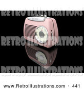 Retro Illustration of a Old Retro Pink Radio with a Station Dial, on a Reflective Black Surface by KJ Pargeter