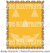 Retro Illustration of a Orange Background with a Halloween Pumpkin Face and a Border of Candy Corn by Andy Nortnik