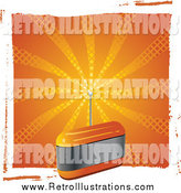 Retro Illustration of a Orange Radio with an Antenna by Elaineitalia