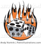 July 17th, 2012: Retro Illustration of a Pair of Dice Rolling over Orange Flames at a Casino by Andy Nortnik
