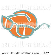 Retro Illustration of a Pair of Orange and Green Sunglasses over an Orange Circle on White by Andy Nortnik