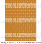 Retro Illustration of a Patterned Orange Background with Colorful Stars Clipart Illustration by Andy Nortnik