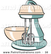 Retro Illustration of a Pink and Green Electric Kitchen Mixer on White by Andy Nortnik