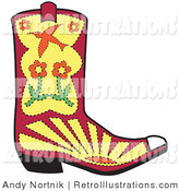 Retro Illustration of a Pink and Yellow Cowgirl Boot with Flowers, Sunset and a Bird by Andy Nortnik