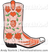 Retro Illustration of a Pink Cowgirl Boot with a Pattern of Blooming Red Roses by Andy Nortnik