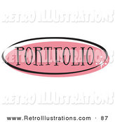 Retro Illustration of a Pink Oval Portfolio Website Button That Could Link to a Gallery on a Site by Andy Nortnik