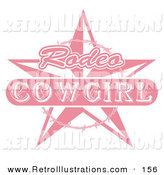 Retro Illustration of a Pink Rodeo Cowgirl Sign with a Star and Barbed Wire over Solid White by Andy Nortnik