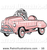 Retro Illustration of a Pink Shiny Metal Pedal Convertible Toy Car by Andy Nortnik