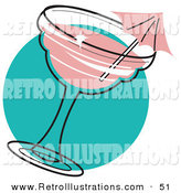 Retro Illustration of a Pink Umbrella in a Strawberry Margarita over a Blue Circle by Andy Nortnik