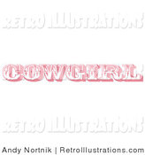 Retro Illustration of a Pink Western Cowgirl Bathroom Sign on Solid White by Andy Nortnik