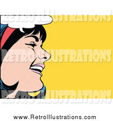 Retro Illustration of a Pop Art Black Haired White Woman Talking over Yellow by Brushingup