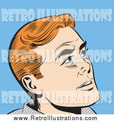 Retro Illustration of a Pop Art Red Haired White Man Looking up by Brushingup