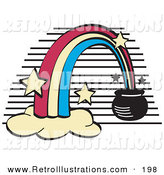 Retro Illustration of a Pot of Gold at the End of an Arcing Rainbow by Andy Nortnik