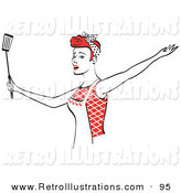 Retro Illustration of a Pretty and Happy Red Haired Housewife Wearing an Apron and Dancing with a Spatula While Singing by Andy Nortnik