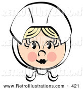 Retro Illustration of a Pretty Female Pilgrim Blushing and Wearing a White Bonnet over Her Blond Hair on White by Andy Nortnik