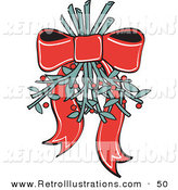Retro Illustration of a Pretty Red Ribbon Hanging Mistletoe Upside down for People to Kiss Under Retro on White by Andy Nortnik