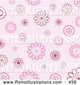 Retro Illustration of a Pretty Retro Pink Background of White and Pink Flowers and Circles over a Weaved Texture by KJ Pargeter