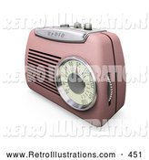 Retro Illustration of a Pretty Retro Pink Radio with a Station Dial, on a White Surface by KJ Pargeter