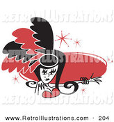 Retro Illustration of a Pretty Showgirl in Red and Black Feathers, Holding out Her Arm in Front of a Red Oval by Andy Nortnik