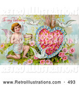 Retro Illustration of a Pretty Vintage Valentine of Three White Doves Flying Around Cupid Aiming an Arrow at a Heart Made of Pink Poppies and Blue Forget Me Nots, Circa 1910 by OldPixels