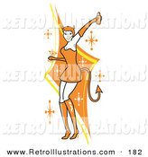 Retro Illustration of a Pretty Woman in a Tight Orange Dress, Gloves and Tall Boots and Forked Devil Tail, Dancing While Drinking at a Halloween Party by Andy Nortnik