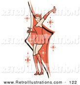 Retro Illustration of a Pretty Woman in a Tight Red Dress, Gloves and Tall Boots and Forked Devil Tail, Dancing While Drinking at a Party by Andy Nortnik