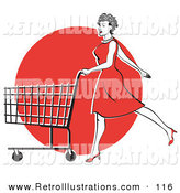 Retro Illustration of a Pretty Young Woman in a Red Dress and High Heels, Walking and Pushing a Shopping Cart in Front of a Red Circle by Andy Nortnik