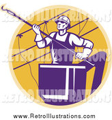 Retro Illustration of a Purple Lineman Working on Power Cables by Patrimonio