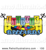 Retro Illustration of a Rack of Pool Balls on a Vintage Colorful Freddys Billiards Sign for a Pool Hall by Andy Nortnik