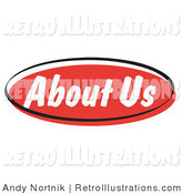 Retro Illustration of a Red About Us Internet Website Blog Button by Andy Nortnik
